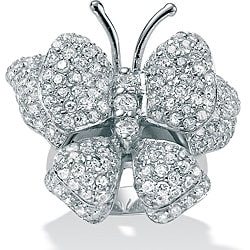 PalmBeach 4.50 TCW Round Cubic Zirconia Sterling Silver ButterfLy Ring Sizes 7-12 Glam CZ
