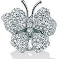 PalmBeach CZ Sterling Silver Cubic Zirconia Butterfly Ring Glam CZ