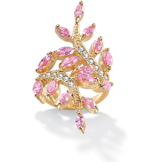 PalmBeach 3.40 TCW Marquise-Cut Pink Cubic Zirconia with Crystal Accents Leaf Ring in 14k Gold-Plated Color Fun