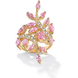 PalmBeach Gold Overlay Pink and White Cubic Zirconia Ring Color Fun