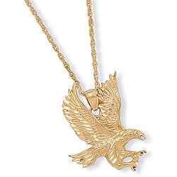 High-polish 14k Yellow Gold Overlay 24-inch Eagle Pendant Necklace