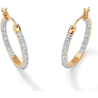 Isabella Collection 18k Gold over Silver Inside-out 1/10ct TDW Diamond Hoop Earrings