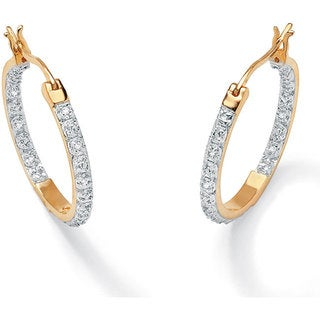 PalmBeach 18k Gold over Silver Inside-out 1/10ct TDW Diamond Hoop Earrings