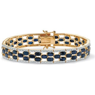 PalmBeach 20.65 TCW Oval-Cut Midnight Blue Sapphire 18k Gold over Sterling Silver Bracelet 7 1/4""