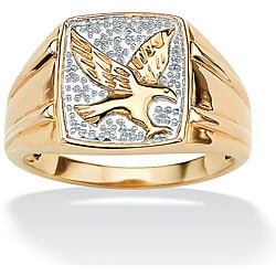 Isabella Collection Gold over Silver Men's Diamond Accent Eagle Ring