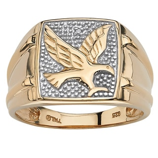 PalmBeach Men's Round Diamond 18k Gold over Sterling Silver Eagle Ring