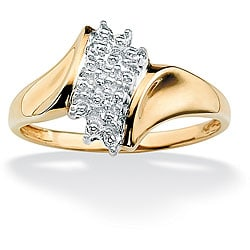 Isabella Collection 18k Gold over Sterling Silver Diamond Cluster Ring