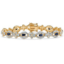 Isabella Collection 18k Gold over Silver Sapphire and 1/10ct TDW Diamond Bracelet (I-J, I2-I3)