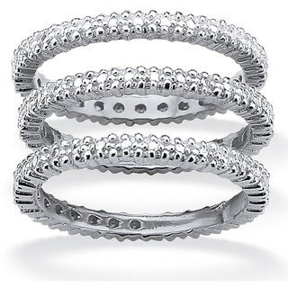 PalmBeach Platinum/Silver Diamond Accent 3-Piece Eternity Ring Set Diamonds & Gems