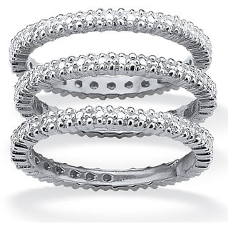 PalmBeach Platinum/Silver Diamond Accent 3-Piece Eternity Ring Set