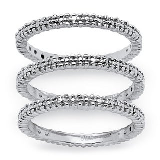 PalmBeach 3-Piece Diamond Accented Eternity Stack Ring Set in Platinum over Sterling Silver
