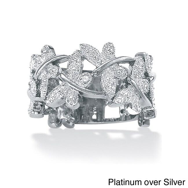 PalmBeach Jewelry PalmBeach Silver Diamond Accent Butterfly Ring