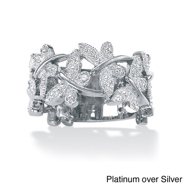 PalmBeach Diamond Accented Butterfly Ring in Platinum over Sterling Silver or 18k Gold over Sterling Silver
