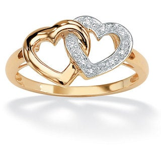 Isabella Collection 18k Gold over Silver Diamond Accent Interlocking Heart Ring