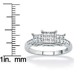 PalmBeach 10k Gold 1/4ct TDW Diamond Cluster Ring (G-H, I2-I3)