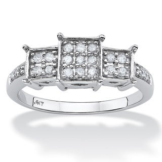 PalmBeach 1/5 TCW Round Diamond 10k White Gold Princess-Shaped Engagement Ring