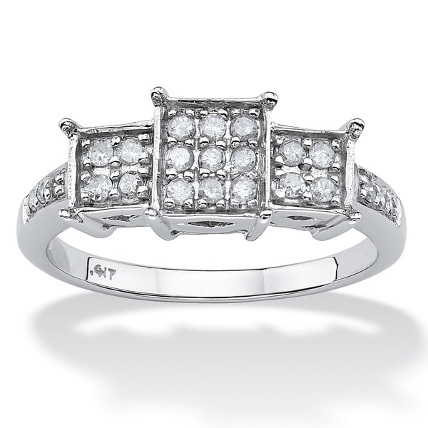 PalmBeach Diamond 10k White Gold Princess-Shaped Ring