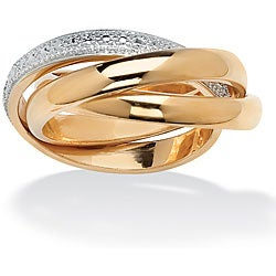 Isabella Collection 18k Gold over Silver Diamond Accent Rolling Ring