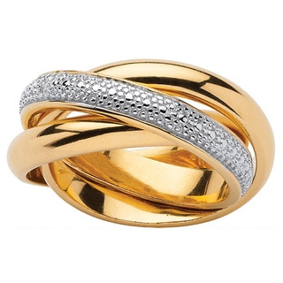 PalmBeach 18k Gold over Silver Diamond Accent Rolling Ring