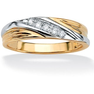 PalmBeach 10k Gold Men's 1/10ct TDW Diamond Wedding Band (H-I, I2-I3)