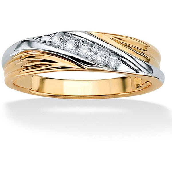 PalmBeach Men's 1/10 TCW Round Diamond 10k Yellow Gold Diagonal Wedding Band Ring