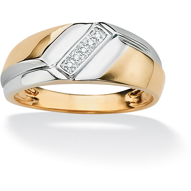 PalmBeach Men's Diamond Accent 18k Gold over Sterling Silver Diagonal Ring