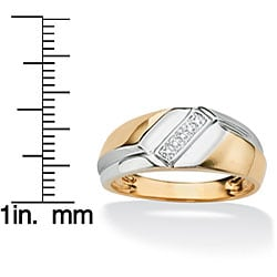 Neno Buscotti Gold over Silver Men's Diamond Accent 5-stone Ring