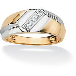 Neno Buscotti Gold over Silver Men's Diamond Accent 5-stone Ring