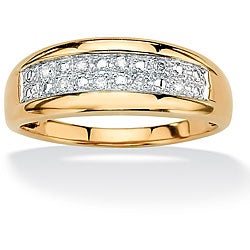PalmBeach 18k Gold over Silver Men's 1/8ct TDW Diamond Pave Ring (G-H, I2-I3)