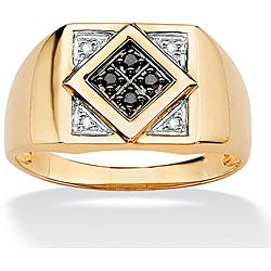 Isabella Collection 10k Gold Men's 1/10ct TDW Black and White Diamond Ring (H-I, I2-I3)