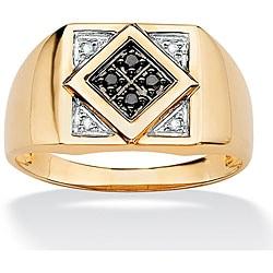 Isabella Collection 10k Gold Men's 1/10ct TDW Black and White Diamond Ring (H-I, I2-I3)