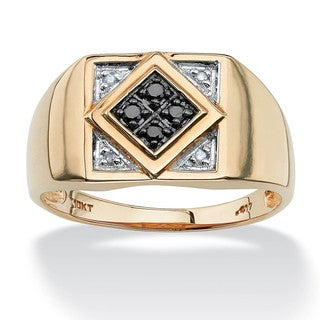 PalmBeach Men's .10 TCW Round Black and White Diamond Geometric Ring in 10k Yellow Gold