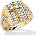 Neno Buscotti Gold over Silver Men's 1/10ct TDW Diamond Crucifix Ring (H-I, I2-I3)