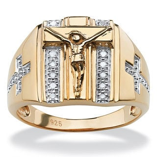 PalmBeach Men's 1/10 TCW Round Diamond Crucifix and Cross Ring in 18k Gold over Sterling Silver Sizes 9-13