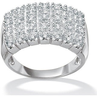 PalmBeach Platinum over Silver 1/6ct TDW Diamond Cluster Ring (H-I, I2-I3)