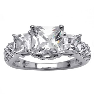 Ultimate CZ 10k White Gold Princess-cut Cubic Zirconia Ring