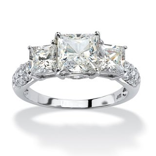 PalmBeach 3.06 TCW Princess-Cut Cubic Zirconia Engagement Anniversary Ring in 10k White Gold Classic CZ