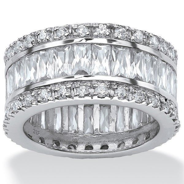 PalmBeach 9.34 TCW Emerald-Cut Cubic Zirconia Eternity Band in Platinum over Sterling Silver Glam CZ