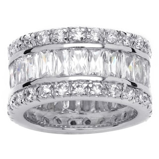 Ultimate CZ Platinum  over Sterling Silver Cubic Zirconia Eternity Ring