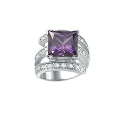 Lillith Star Sterling Silver Purple and Clear Cubic Zirconia Ring