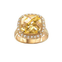 PalmBeach 18k Gold over Sterling Silver Yellow Cubic Zirconia Ring Color Fun