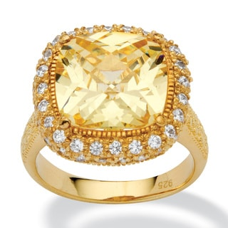 PalmBeach 4.54-Carat Cushion-Cut Canary-Colored Cubic Zirconia 18k Gold over Sterling Silver Ring Color Fun