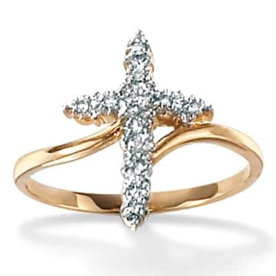 PalmBeach 10k Gold Diamond Accent Cross Ring