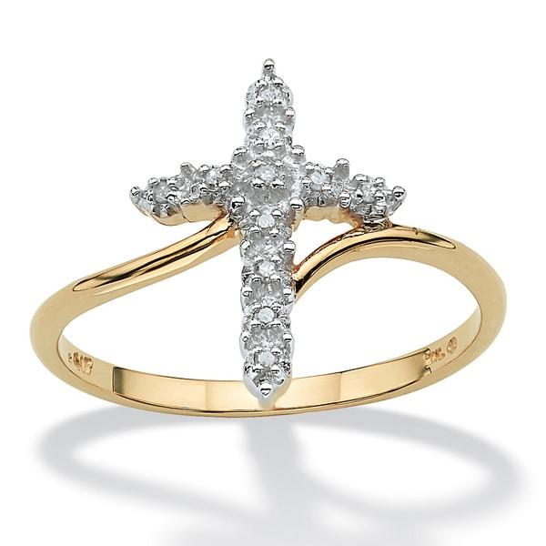 PalmBeach 10k Gold Diamond Accent Cross Ring