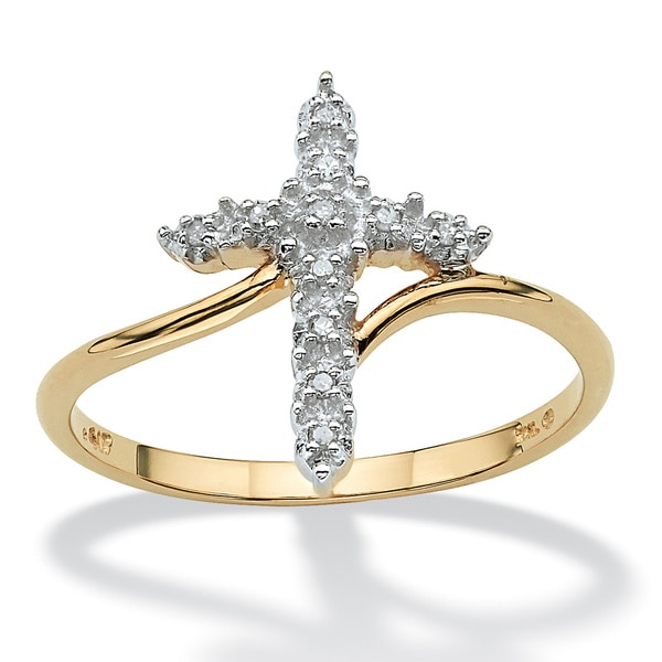 PalmBeach Round 10k Gold Diamond Accent Cross Ring