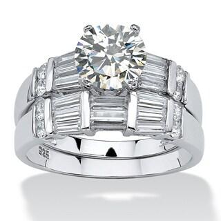 PalmBeach 2.79 TCW Round Cubic Zirconia Platinum over Sterling Silver 2-Piece Wedding Ring Set Classic CZ