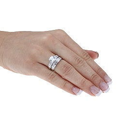 Ultimate CZ Gold over Silver 2-piece Cubic Zirconia Wedding Ring Set