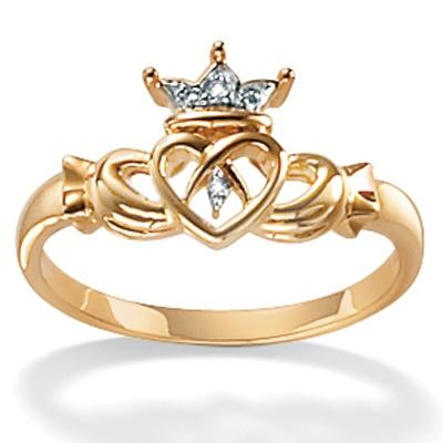 PalmBeach Diamond Accent 10k Yellow Gold Traditional Celtic Symbol Claddagh Ring