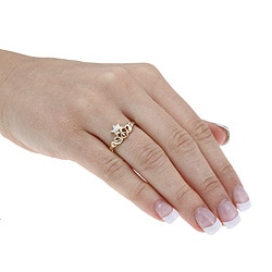 Isabella Collection 10k Gold Diamond Accent Claddagh Ring