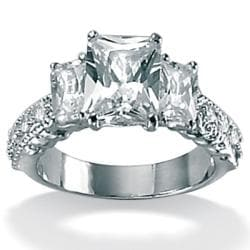 PalmBeach CZ Platinum Over Sterling Silver Emerald-Cut and Round Cubic Zirconia Ring Classic CZ